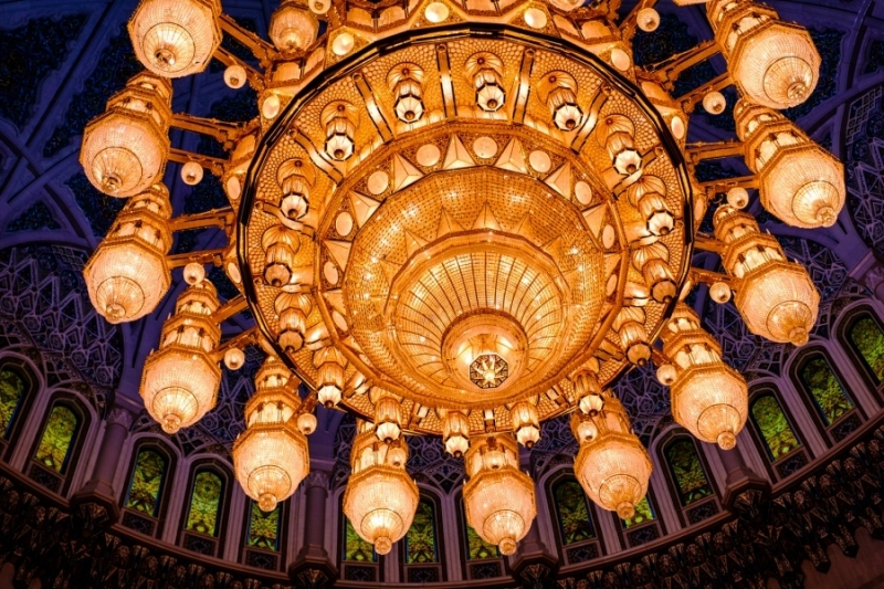 The chandelier of the Sultan Qaboos Grand Mosque, Muscat, Oman
