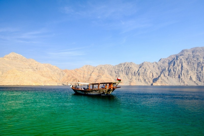 A dhow cruising the emerald waters